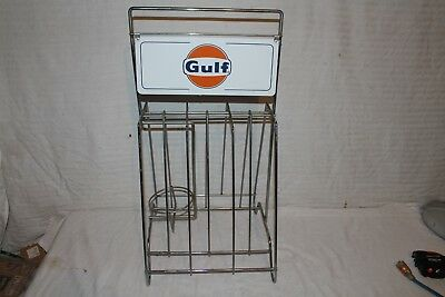 """Vintage 1960's Gulf Gas Station 2 Sided 27"""" Metal Sign Oil Can Display~Nice"""