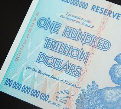 Zimbabwe 100 Trillion! 2008 Aa! Uncirculated! Authentic! Over 50 In Stock!