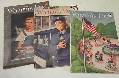 Vintage lot of 3 WWII years Woman's Day Magazines - 1943-1944-1949 - GC