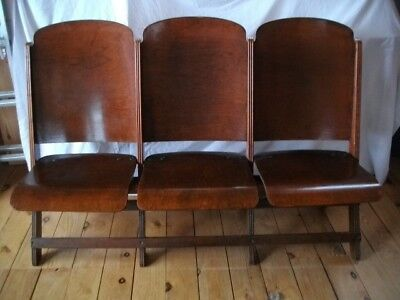 Vintage Wooden Folding Seats -Theater/AuctionHouse/RusticWedding, sets of 3