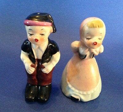Napco Kissing Swiss Boy And Girl Salt And Pepper Shakers - Hand Painted Japan