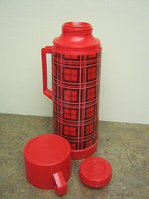 Vintage Aladdin Thermos Glass Liner Red Black Plaid Checkered 1 Quart Hot & Cold