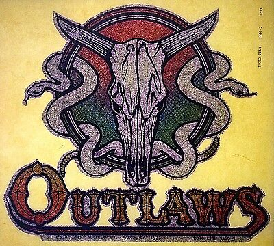 Original1977 Outlaws Full Glitter Snake Skull Iron On Southern Rock RARE