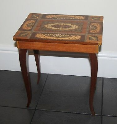 Italian hand inlaid marquetry, antique musical jewellery box table