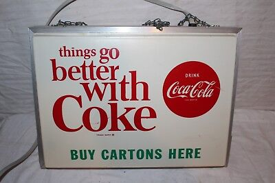 """Rare Vintage 1960's Coca Cola Soda Pop Gas Oil 2 Sided 20"""" Lighted Sign~Works"""