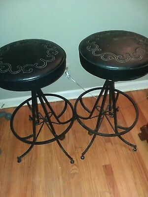 Vintage Wrought Iron Industrial STOOL Machinist Drafting w/Leather-Toledo Style