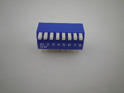[Tube of 23pcs] 8 Way DIP Switch Piano actuator 16 pin through hole right angle