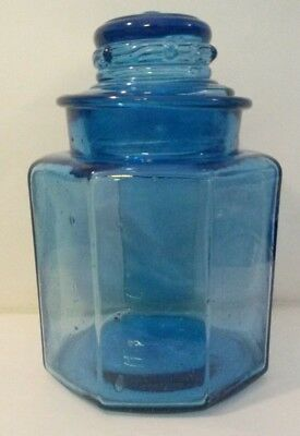 "Vintage Blue Glass Canister Apothecary Jar Hand Blow Paneled 8"" Tall"