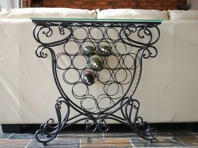 Quality Handmade Iron Elegant French Wine Bottle Rack Storage Console Glass Top