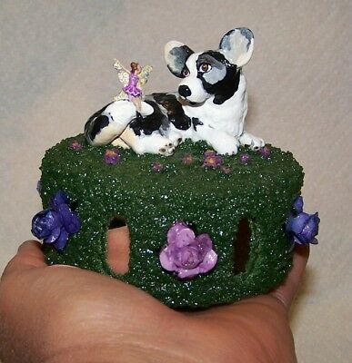 Cardigan Welsh Corgi, Corgi,  Blue Cardigan, Signed, Revolving Music Box,  Ooak