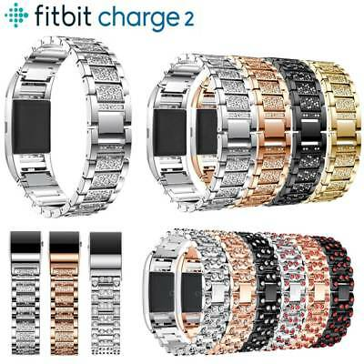Fashion Crystal Stainless Steel Watch Band Wrist Strap For Fitbit charge 2 New