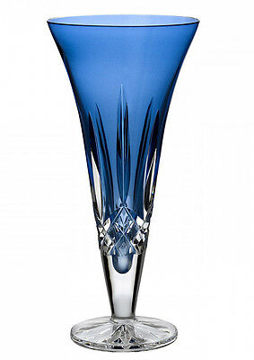 "Waterford Lismore Crystal Sapphire Blue Footed Vase 9"" Flared #150432 New in Box"