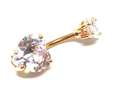 ROSE GOLD Clear CZ Crystal Heart Navel Bar Belly Button 316L Surgical Steel-UK