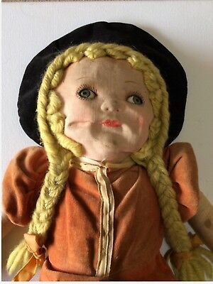 Antique Primitive Cloth Doll Girl Original Handmade Vintage Large