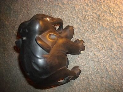 Large  Antique Victorian Ebony Hand Carved Wooden Elephant
