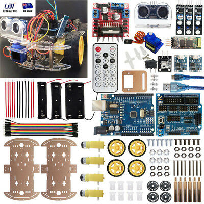 4WD Robot Car Kit UNO BT IR Autonomous Avoid Line Follow iOS Android For Arduino
