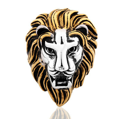 Cool Silver & Gold Stainless Steel Mighty Lion Head Men Heavy Metal Finger Ring