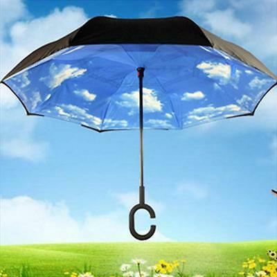 Windproof Umbrella Sky Sun Inverted Reverse  Rain Double Layer Parasols Folding