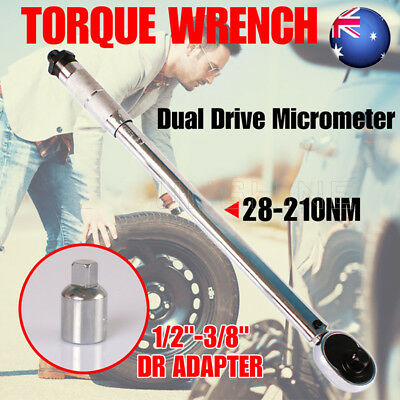 """Dual Drive 1/2"""" and 3/8"""" Micrometer Torque Ratchet Wrench 28-210NM Tool & Case A"""