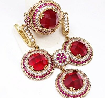 turkish handmade 925 sterling silver red ruby stone ladies woman set ALL SİZE us