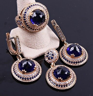 turkish handmade 925 sterling silver blue sapphire stone ladies set ALL SİZE us