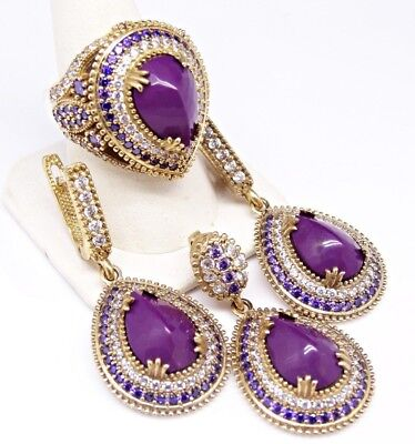 turkish handmade 925 sterling silver amethyst stone ladies set ALL SİZE us 0