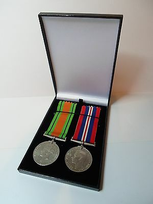 4 x MEDAL DISPLAY CASE dark blue to hold up to 2 medals SLIGHT MARKS ON LIDS