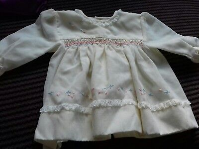 Cream 1980s vintage baby dress 0-3 months Sarah Louise