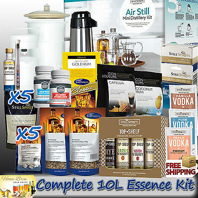 Air Still Mini Distillery + Essence Mega Pack [Makes Up 10 L] Home Brewing Kit