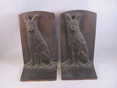 Antique Large Heavy Bookends Book Ends Cast Iron German Shepherd Dog 7 in