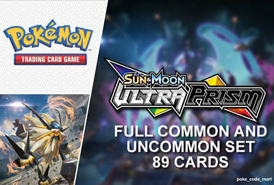 Pokemon Ultra Prism Complete Full Common & Uncommon Set (89 cards)