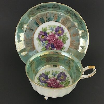Shafford Japan Three Footed Teacup And Saucer Green Floral Gold Trim Vintage