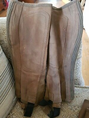 Mens Loveson Riding Half Chaps Brown Suede Large in very good condition