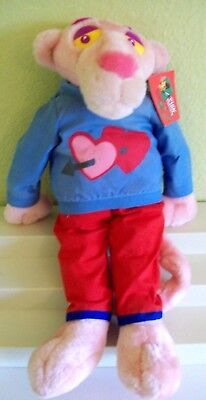 """Vintage PINK PANTHER Valentine's Plush Toy Doll in Love Hearts w/ Tag RARE 18"""""""