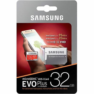 SAMSUNG EVO Plus 32GB MicroSD Micro SDHC C10 Flash Memory Card w/ SD Adapter FHD