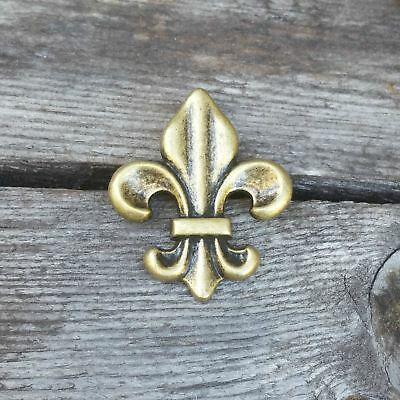 "1"" Antique Brass Fleur De Lis Decorative Wood Screw Fancy Tack Work Working DIY"