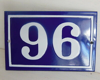 OLD FRENCH HOUSE NUMBER SIGN door gate PLATE PLAQUE Enamel steel metal 96 Blue