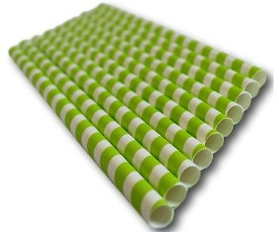 Green/White Candy Stripe Biodegradable Paper Straw (197mm x 6mm)
