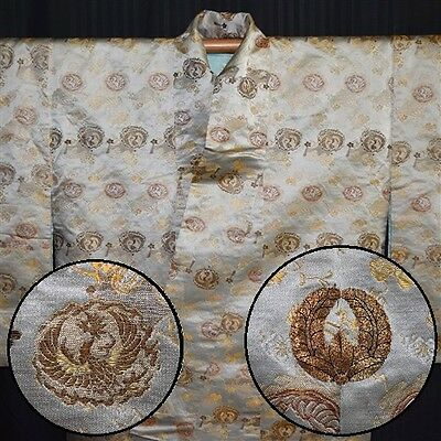 "Antique Japanese Uchikake Kimono Bridal Wedding Dress Vintage ""Samurai Brocade"""
