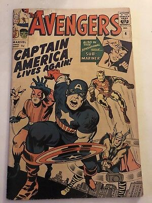 Avengers #4 1964 First Silver Age Captain America VG