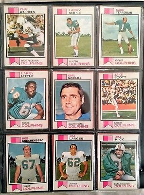 18 x Topps Miami Dolphins 1973 NFL football cards - Griese/Warfield/Csonka