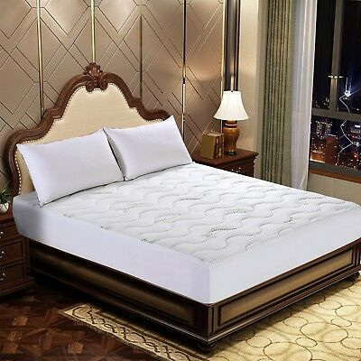 Bamboo Waterproof Premium Ultra Soft Quilted Mattress Pad, Fit Mattress Up to 18