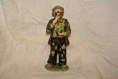 """Emmett Kelly Jr. """" Eating Cabbage """" Figurine By Flambro, made in Taiwan"""