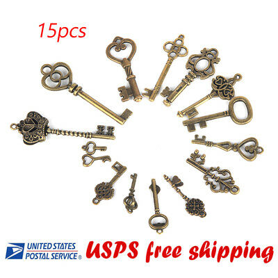 15 Large Skeleton Keys Antique Style Key Copper Key Vintage Keys USA seller