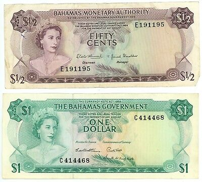 Lot of 2 Bahamas $1 Dollar 1965 & 50 Fifty Cent 1968 Banknotes Pick P-18
