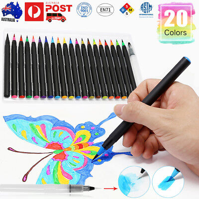 20x Multi-color Watercolor Painting Pen Brushes Artist Sketch Drawing Marker Set