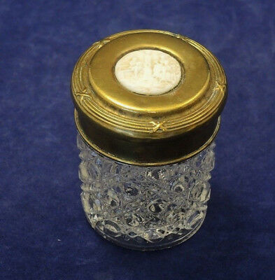 Antique Brass Lid With Composition Insert Dressing Table Jar Hobnail Glass #27