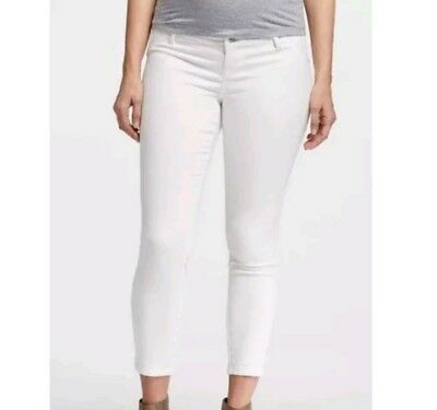 0325c98e2b944 Liz Lange Maternity Ankle Pant Under the Belly Stretch White Denim Size L XL  XXL