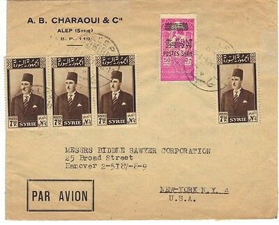 "SYRIA 1947 ""ALEP 7"" AIR MAIL COVER TO N.Y. FRANKED S.G. 424 (x4) & S.G. 417 ARMY"