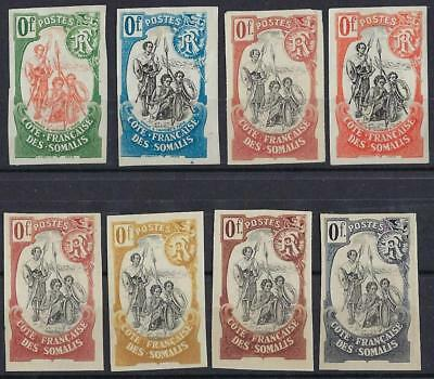 Somali Coast France Territory 1902 Warriors Set Of 8 Imperf Color Proofs